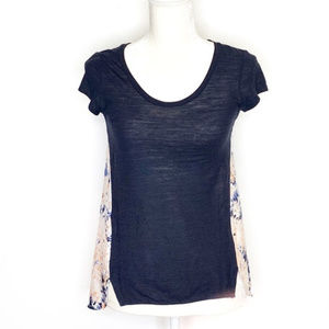 Anthropologie Deletta Floral Mixed Media Blue Top